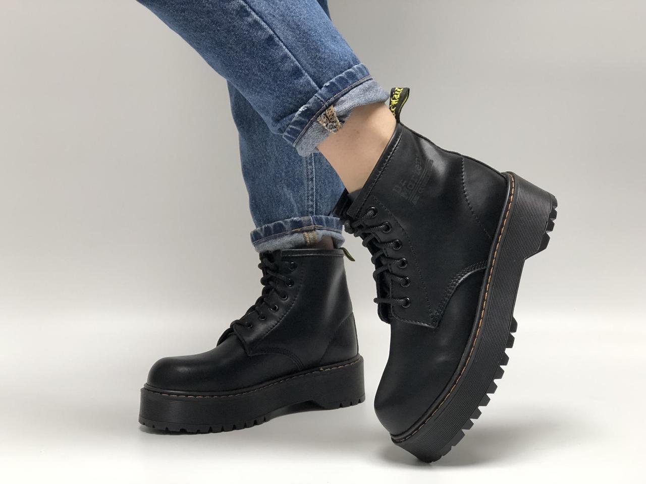 Женские ботинки Dr.Martens Rad JADON mid кожа, демисезон черный. ТОП Реплика ААА класса.