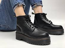 Женские ботинки Dr.Martens Rad JADON mid кожа, демисезон черный. ТОП Реплика ААА класса., фото 2