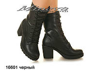 Женские кожаные ботинки черный на цигейке