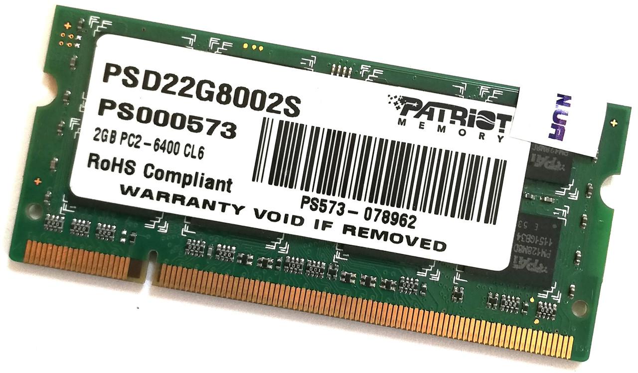 Оперативная память для ноутбука Patriot SODIMM DDR2 2Gb 800MHz 6400S 2R8 CL6 (PSD22G8002S) Б/У