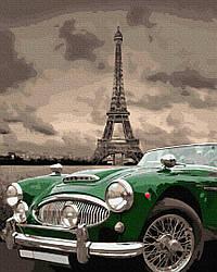 """Картина по номерам """"Зелене ретро на вулицях Парижу"""" Сложность: 4 (Авто, автомобиль, машина, для мужчины, для"""