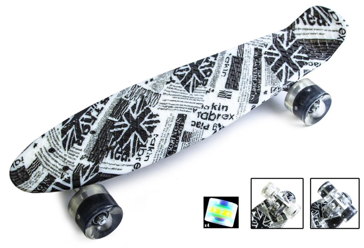 Пенни борд Скейтборд пенни 22 дюйма British Item Penny Board Скейт 57х15 см до 75 кг Светящиеся колеса