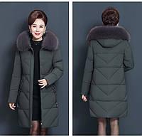 Женский пуховик пальто зимнее с меховым капюшоном средней длины, графит (78555)
