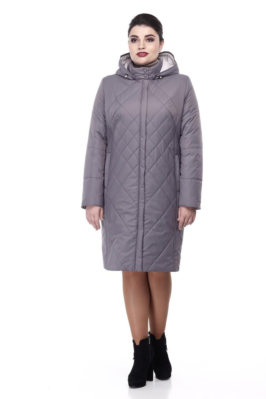 Демисезонная женская куртка ORIGA Леона  54 Серо-фиолетовый (02LEONA-лунный54)