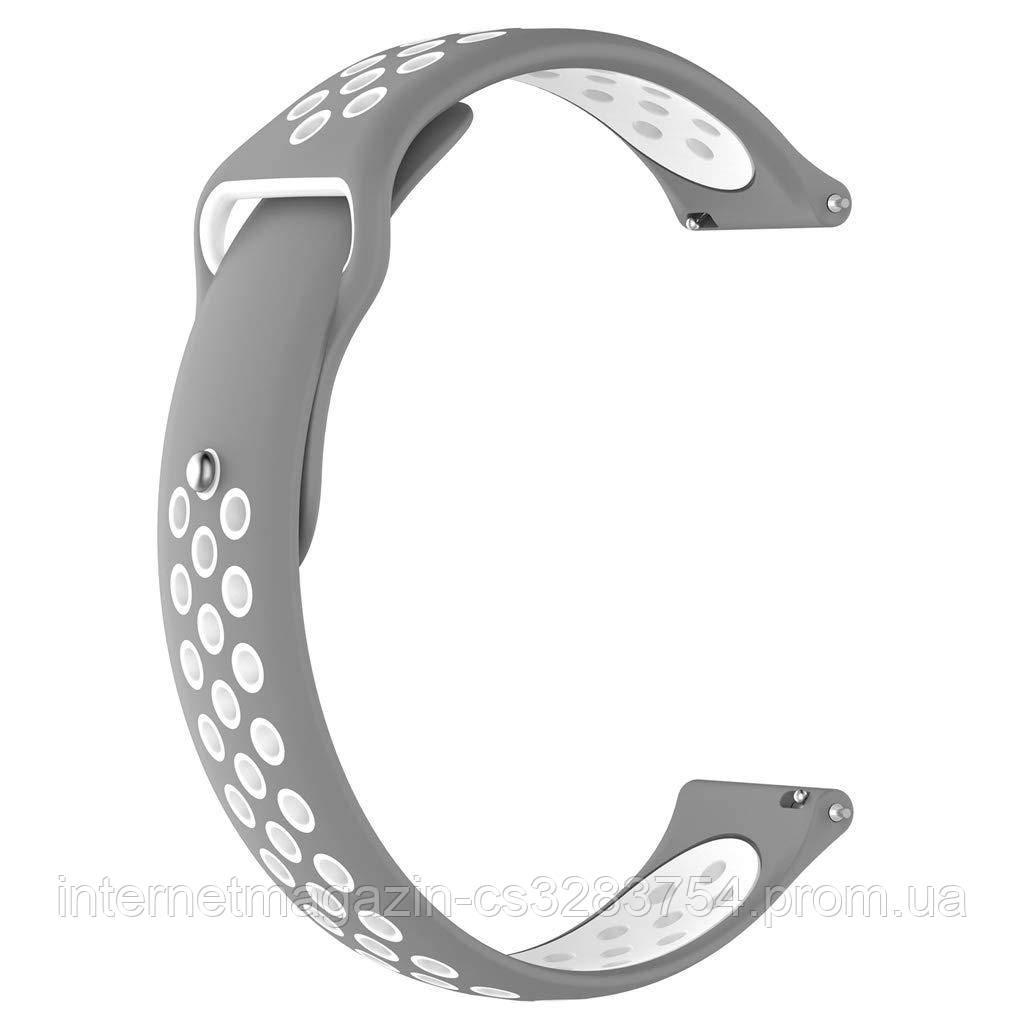 Ремешок силиконовый 20мм BeWatch универсальный с быстросъёмным креплением Серо - белый (1010142)