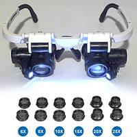NO.9892H-3 лупа-очки бинокулярные c LED подсветкой, 6 сменных линз, пластик: 6.0X, 8.0X, 10X, 15X, 20X, 25X