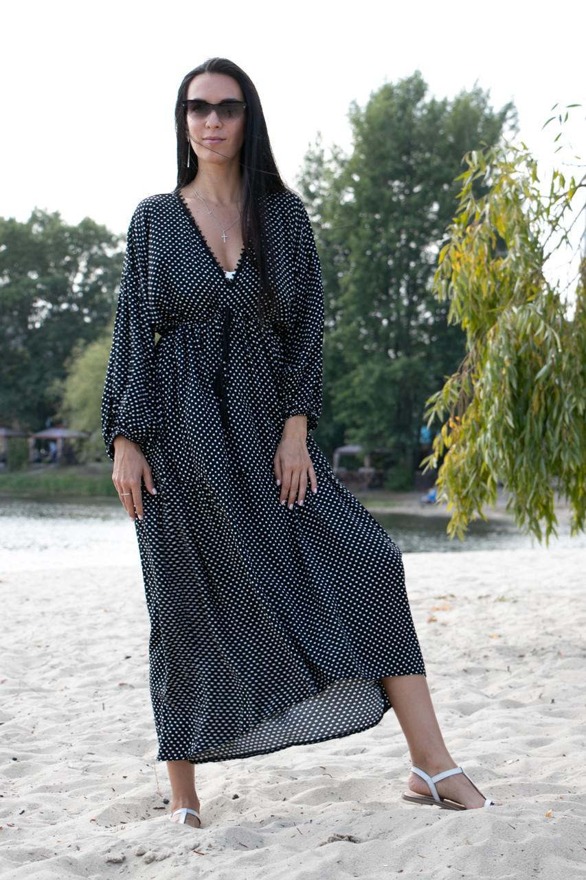 Платье черное в белый горошек oversize - 405-47
