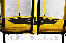 Батут Atleto 140 см шестиугольный с сеткой желтый, фото 2
