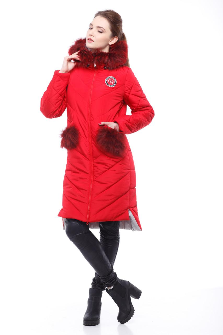Зимняя женская куртка ORIGA Монтана 50 Ярко-красный (01MNT-яр-красный50)