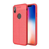 Чехол силиконовый Auto Focus для iPhone XS Max Red