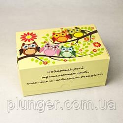 Коробка-контейнер для кондитерських виробів, кольорова Сові