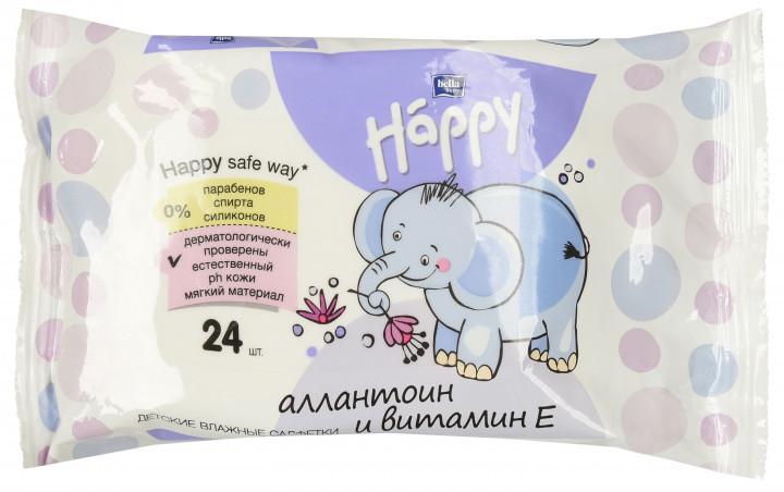 Детские влажные салфетки Bella Baby Happy с витамином Е для ухода за кожей младенцев 24 шт