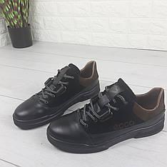 Кроссовки мужские из натуральной кожи, туфли в спортивном стиле черные. Украина