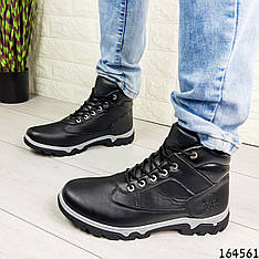 Ботинки мужские демисезонные черные из эко кожи, внутри текстильная подкладка