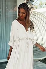 Рубашка-платье на длинный рукав с тонким пояском - 405-44, фото 3