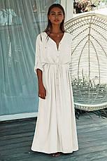 Рубашка-платье на длинный рукав с тонким пояском - 405-44, фото 2