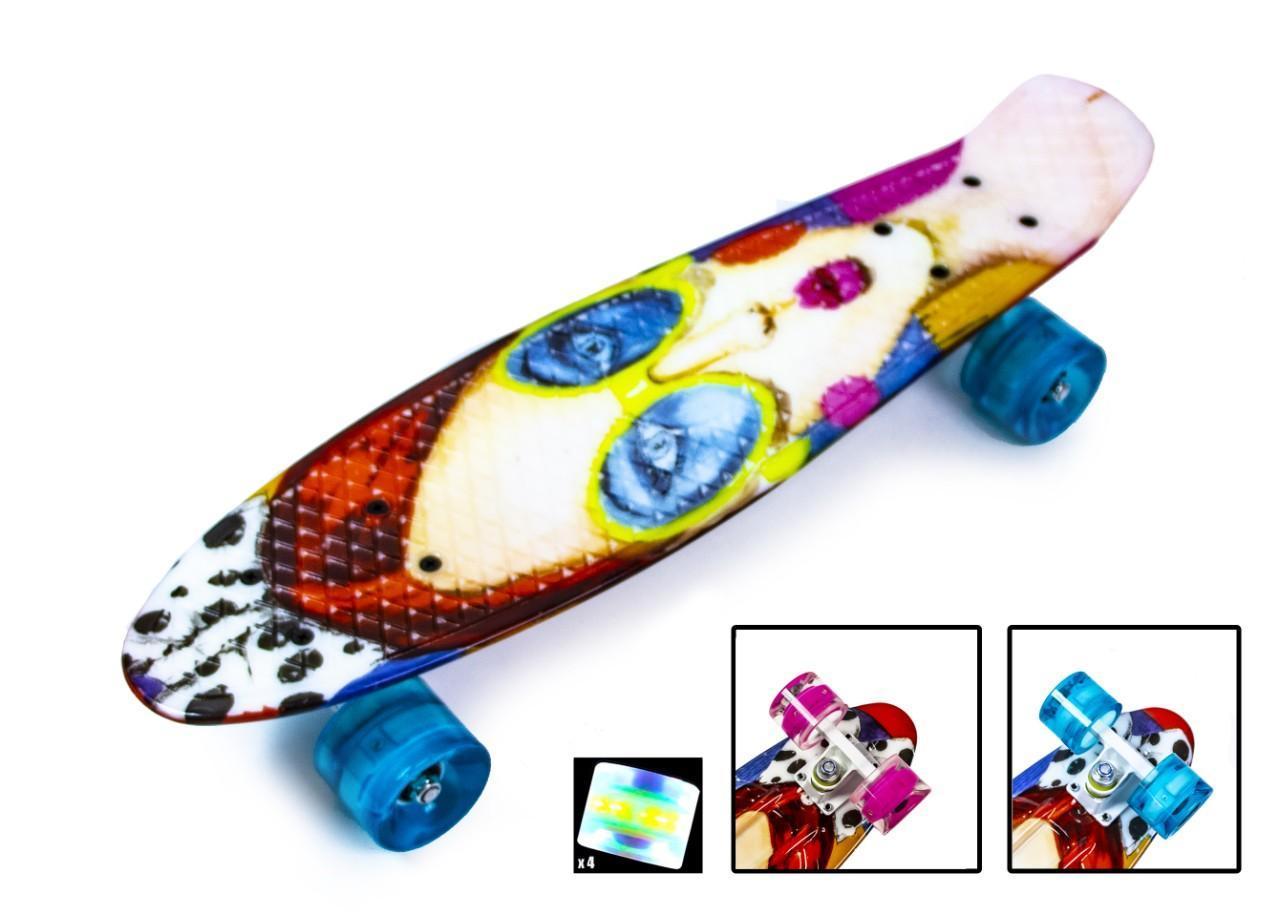 Пенни борд Скейтборд пенни 22 дюйма Cool Girl Penny Board Скейт 55х15 см до 80 кг Светящиеся колеса