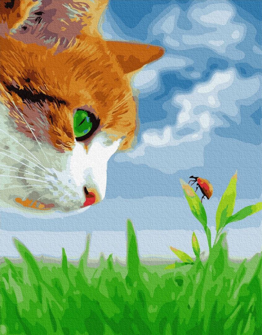 """Картина по номерам """"Кот учёный"""" Сложность: 3 (рыжий кот, кот, кошка)"""