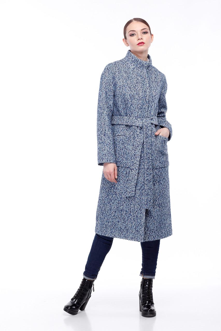 Женское пальто ORIGA Ирис 48 Сине-голубой с белым (02IRS-бел-син-гол48)