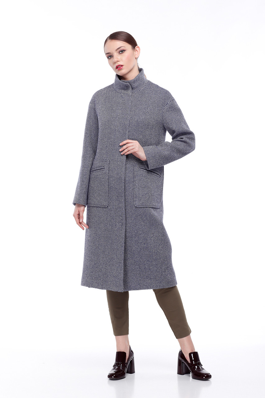Женское пальто ORIGA Ирис 44 Синий с бежевым (02IRS-син-бел-беж44)
