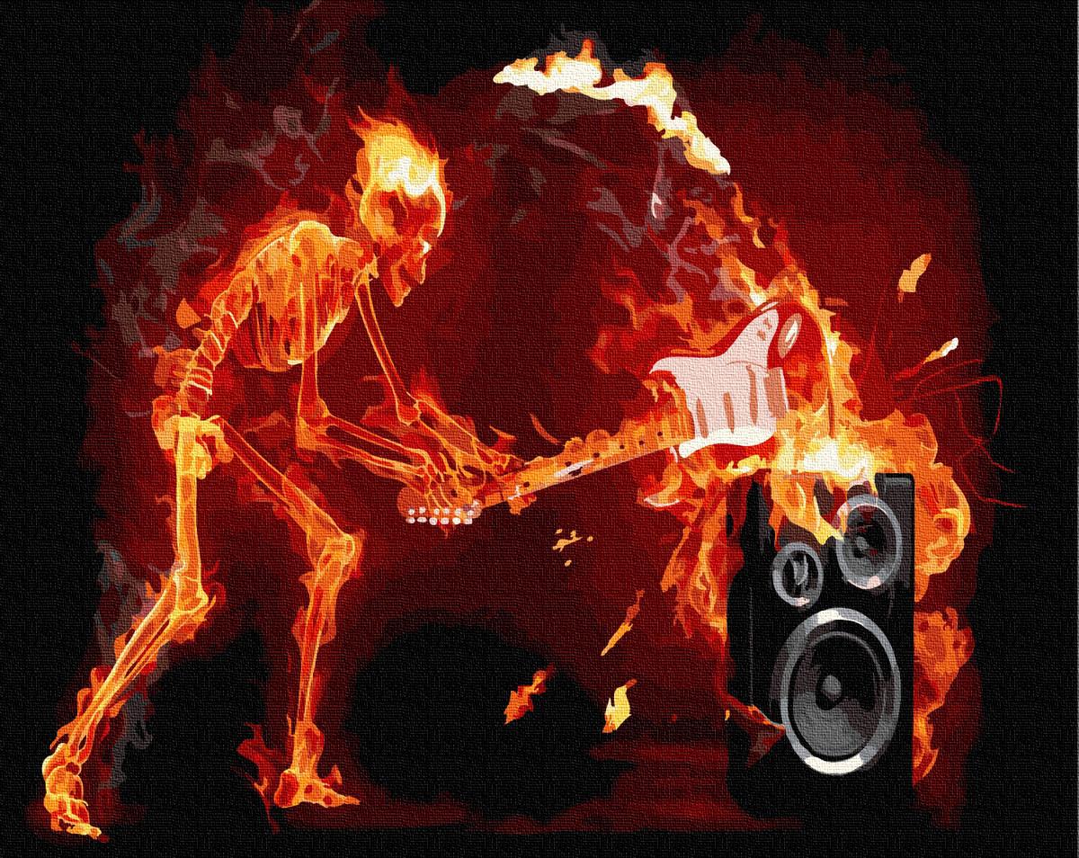 """Картина по номерам """"Огненый рок"""" Сложность: 3 (скелет, огонь, рок, для мужчины, для мальчика)"""