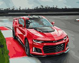"""Картина по номерам """"Горячие гонки"""" Сложность: 3 (Авто, автомобиль, машина, для мужчины, для мальчика, красная"""