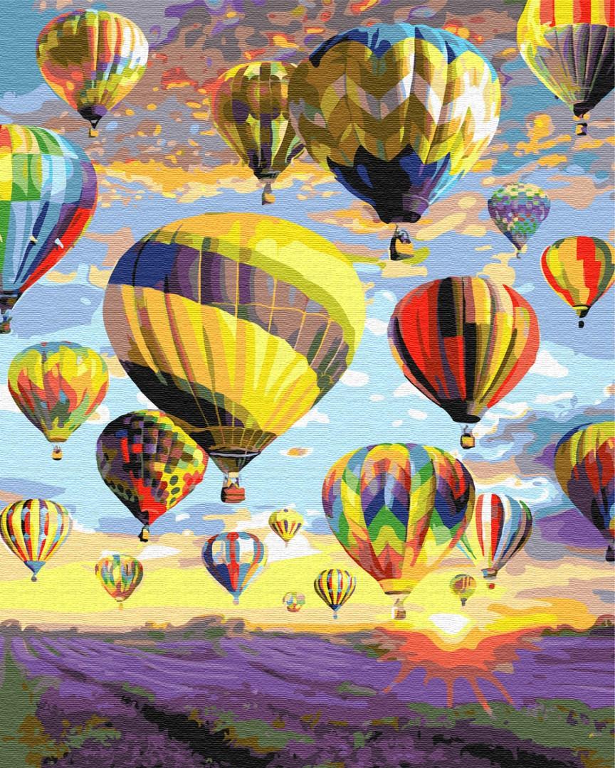 """Картина по номерам """"Мечты в небе"""" Сложность: 1 (воздушные шары, шары, пейзаж, небо, природа)"""