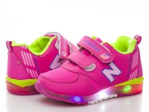 Детские кроссовки BBT Розовые с подсветкой, Размер 22