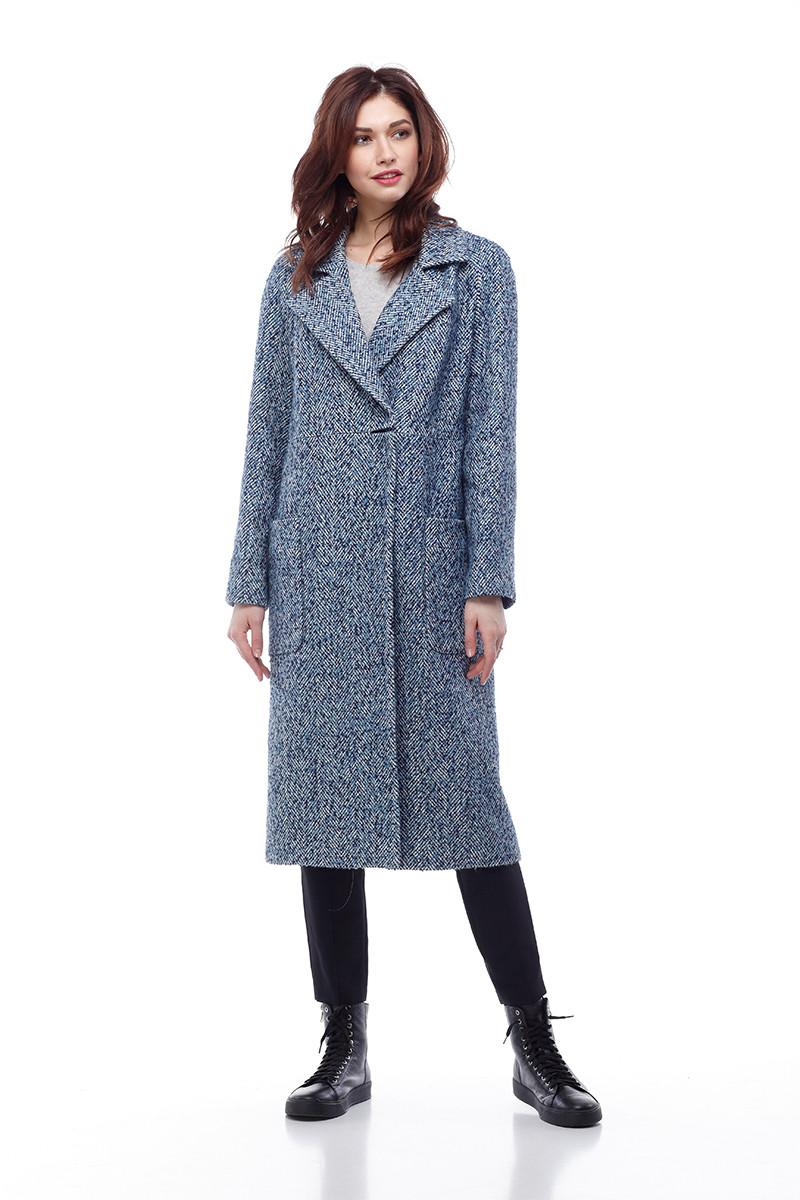 Женское пальто ORIGA Лучиана 48 Сине-белый с голубым (02LCHN-бел-син-гол48)