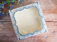 Коробка для изделий ручной работы с окном, 150х150х30 мм, новогодний принт (олени), 1шт, фото 1