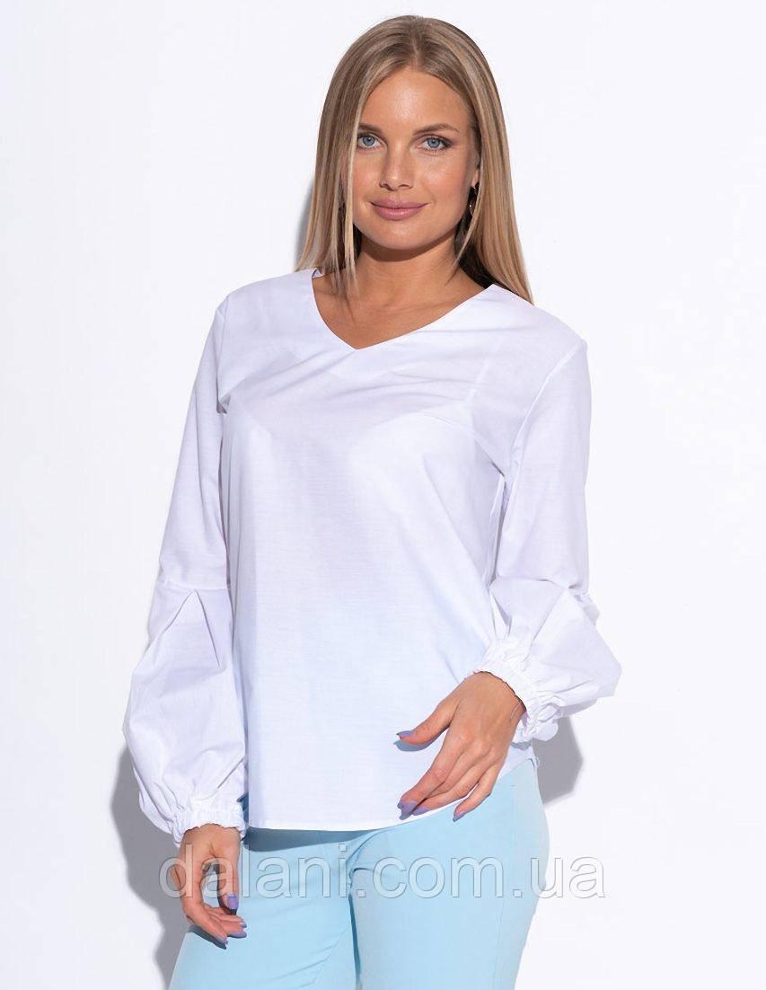 Женская белая рубашка с объёмными рукавами