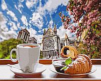 """Картина за номерами """"Кава з круасаном на тлі собору"""" Складність: 4 (Собор Паризької Богоматері, Нотр-Дам,"""