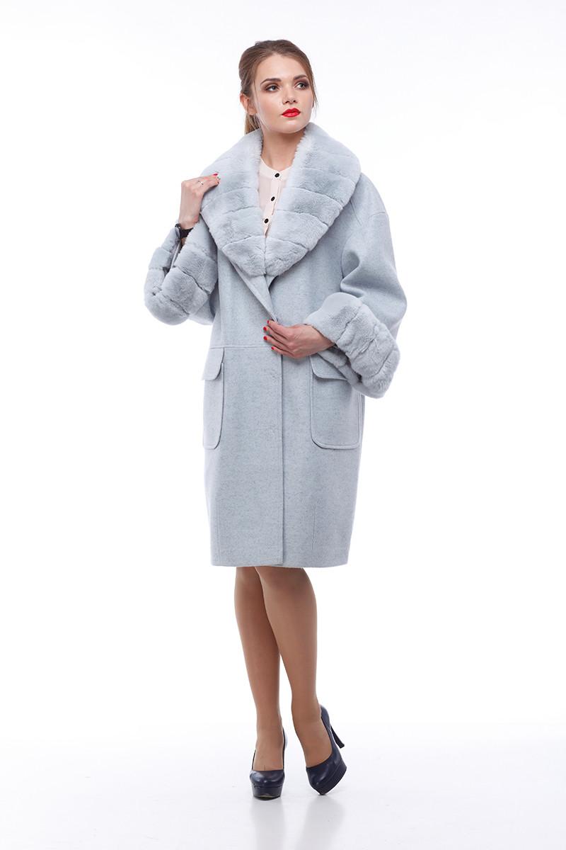 Женское пальто ORIGA Монро 50 Серо-голубой (02MNR-сер-гол50)