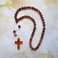 Четки 50 бусин православные с крестом 100% натуральный янтарь 8,75 мм вес 24г
