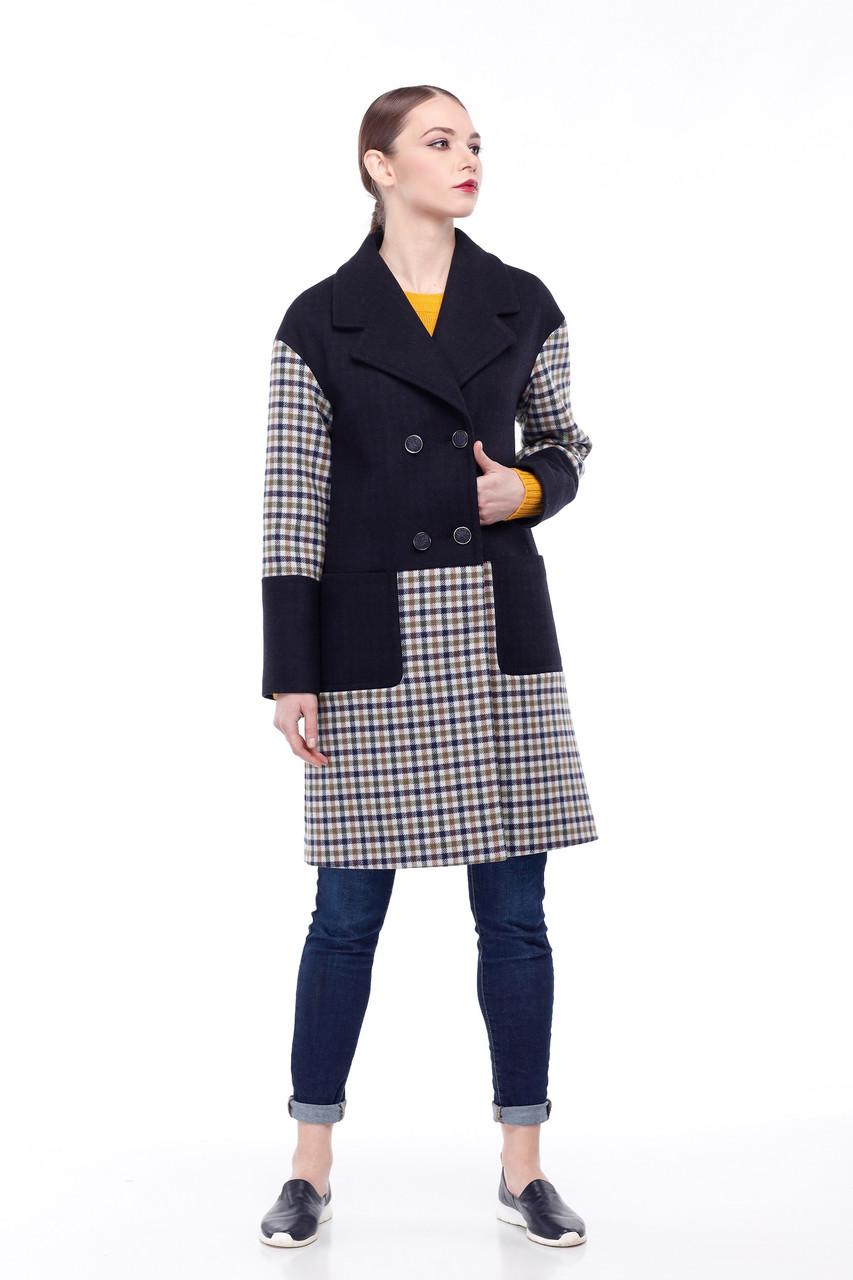 Женское пальто ORIGA Орсола 42 Темно-синий клетка (02Orsola_2-тм-син кл42)