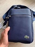 Сумка чоловіча стильна синя якісна містка месенджер Лакост, фото 1