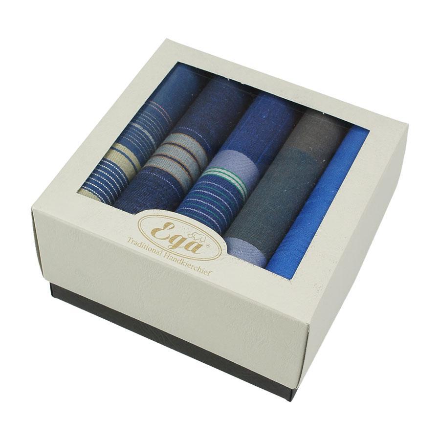 Подарунковий набір синіх носових хусток для чоловіків Ega CH-943/5С