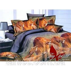 """Евро комплект постельного белья  """"ранфорс"""", расцветка как на фото, львы"""