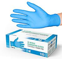 Синие нитриловые перчатки SF Medical М (100 шт)