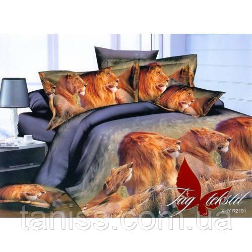 """Двухспальный набор постельного белья  """"ранфорс"""", расцветка как на фото,львы"""