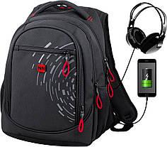 Рюкзак школьный подростковый с USB ортопедический для мальчика черно-красный Winner One 418