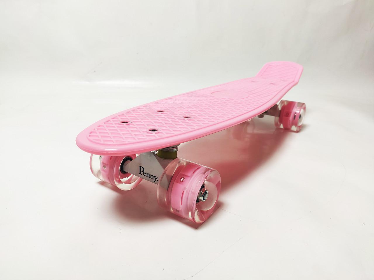 Пенни Борд Penny Board 22Д Пастельно розовый цвет Свет колеса