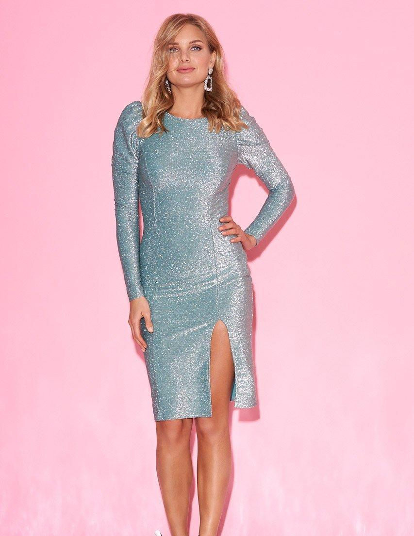 Вечернее бирюзовое платье из люрекса с разрезом