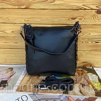 Женская вместительная кожаная сумка на и через плечо Polina & Eiterou