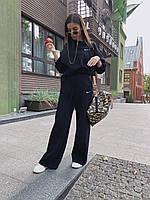 Базовый женский костюм, теплый, ткань футер, S/M, цвет черный, фото 1