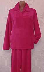 Тепла жіноча махрова піжама, домашній костюм, верх гудзики, р. 40-42,44-46, 56-58 малина