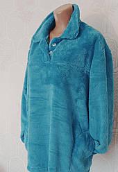 Тепла жіноча махрова піжама, домашній костюм, верх гудзики, р. 2хл (50-52)бірюза