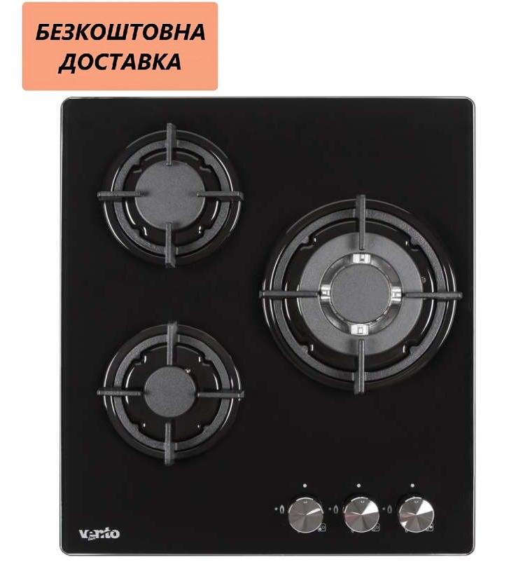 Варочная поверхность встриваемая Ventolux HG430-G1G CEST (BK) Газовая на стекле, Черный.