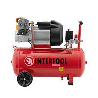 Компресор 50 л, 3 кВт, 220 В, 8 атм, 420 л/хв, 2 циліндра. INTERTOOL PT-0007