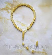 Четки 33 бусины 100% натуральный янтарь шар матовые (не пресс, не плавка) шар 9 мм вес 17г